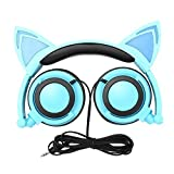 Cat Ear Headphones, Ubearkk Blinking Kids Headphones Fashion Glowing Cosplay Headset Foldable Over-Ear Gaming Headsets with LED Light Compatible for iPhone 6S,Android Phone,PC (Blue)