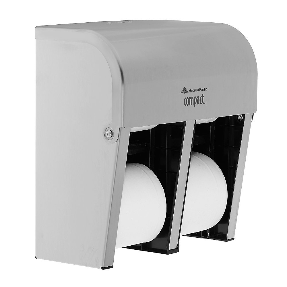 Compact(R) Coreless Quad-Roll Vertical Bathroom Tissue Dispenser, Stainless Steel