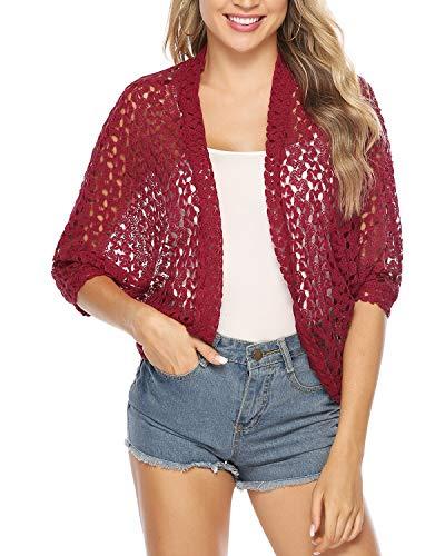 Hawiton Women's 3/4 Sleeve Shrug Lace Crochet Open Front Cardigan Bolero Jackets Wine Red