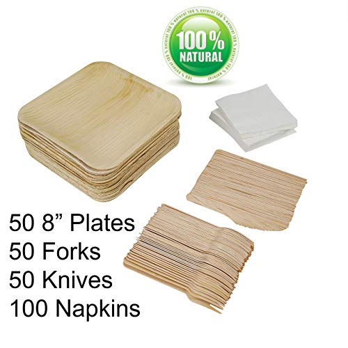 "Pack of 150 Dinnerware + 100 2-Ply Napkins (50 8"" Square Palm Leaf Plates, 50 Wood Forks, 50 Wood Knives) Eco Friendly…"