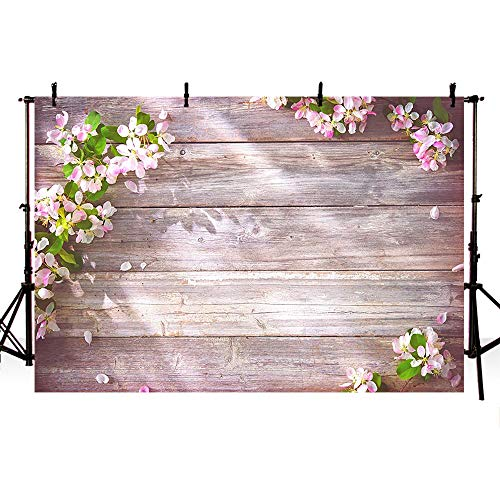 COMOPHOTO Wood Photo Studio Backdrop for Photography 7x5ft Pink Floral Wooden Rustic Spring Photobooth Background Party Decorations Props