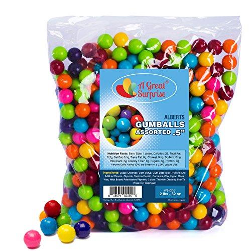 Gumballs in Bulk - Gumballs for Gumball Machines - Gumballs Refill - Mini Gumballs 1/2 Inch - Bulk Candy 2 LB