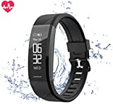 Teetox Fitness Tracker, Activity Tracker Watch Heart Rate Monitor Waterproof Smart Bracelet Wristband ip67, Step Calorie Counter Wearable Pedometer Kids Women Men(black)