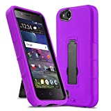 Phone Case for [ZTE ZFIVE G LTE (Z557BL) / ZTE ZFIVE C LTE (Z558VL)], [Impact Series][Purple] Shockproof [Easy Grip] Cover with [Kickstand] (Tracfone, Simple Mobile, Straight Talk, Total Wireless)