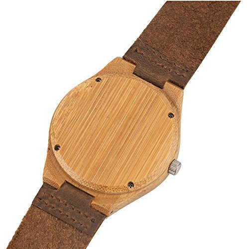Mercimall Mens Wooden Wristwatch with Leather Strap Natural Bamboo Wood Watch Gift for Groomsmen