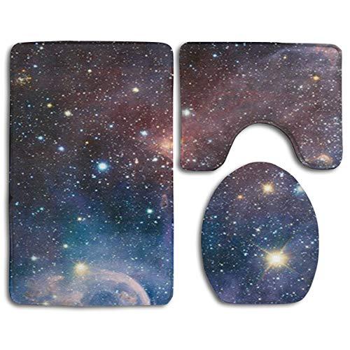 QSYBY Bathroom Anti-Skid Pad Carina Nebula Space 3 Piece A Set of Toilet Rug Mat Lid Cove