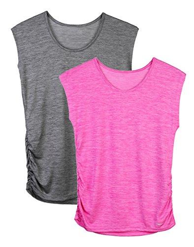 Dolcevida Women's Basic Sleeveless Tees Round Neck T-Shirts (Pack of 2) (L, Dark Grey&Rose)