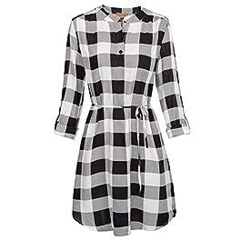 Kate Kasin Women Roll Up Sleeve Casual Tunic Mini Plaid T Shirt Dresses KKAF1057