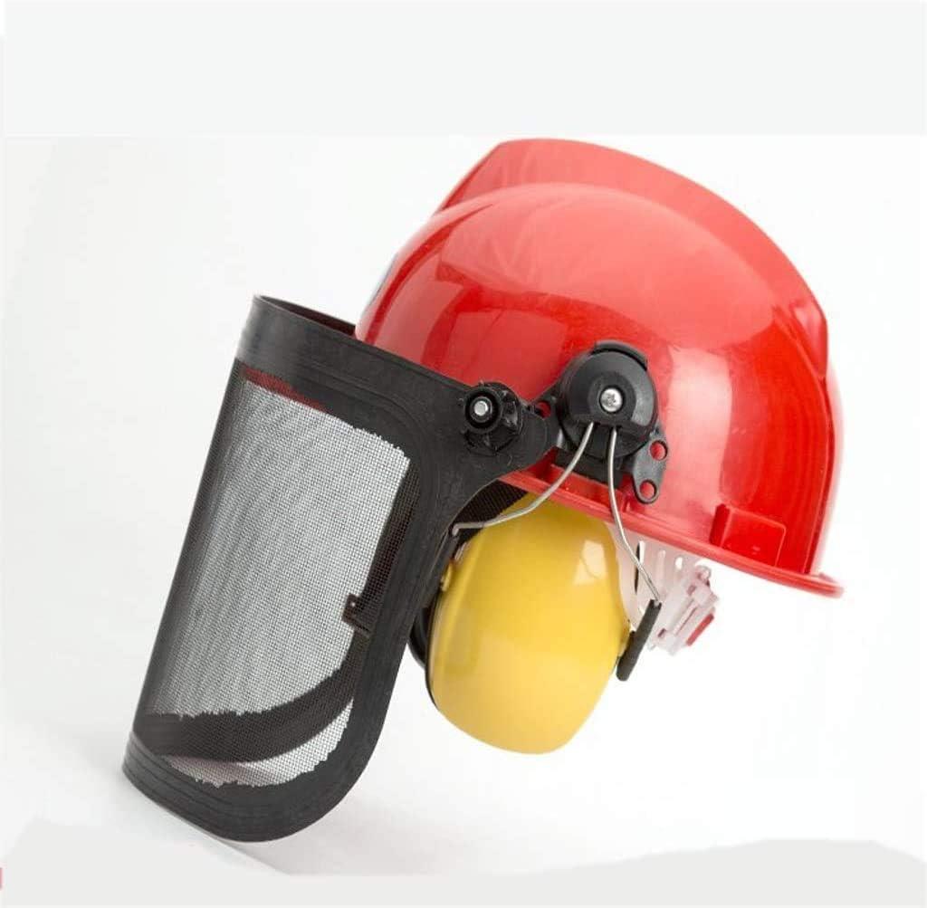 FanYu Casco de Trabajo Casco Forestal Casco de Seguridad Transparente, Visera Pantalla Máscara Casco de Soldadura Salpicaduras contra arañazos con Orejeras Protectoras y Visera de Malla