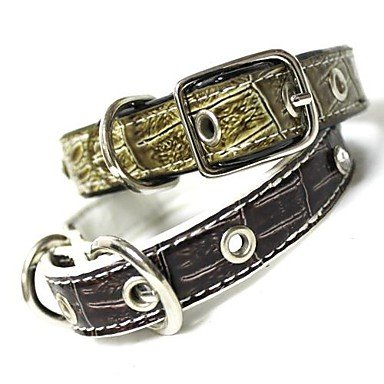 Feng Adjustable PU Leather Diamond Studded Collar for Pets Dogs(Assorted Colors)