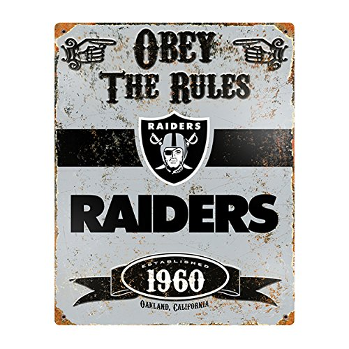 Party Animal NFL Embossed Metal Vintage Oakland Raiders Sign - Oakland Athletics Mlb Street Sign