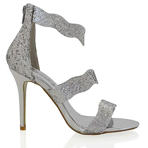 Essex Glam Womens Stiletto High Heel Ankle Strap Silver Glitter Party Sandals Shoes 9 B(M) US