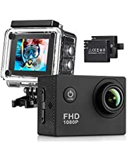 Action Camera, 12MP 1080P 2 Inch LCD Screen, Waterproof Sports Cam 120 Degree Wide Angle Lens, 30m Sport Camera DV Camcorder with with 2 Rechargeable Batteries and Mounting Accessories Kit K-4027