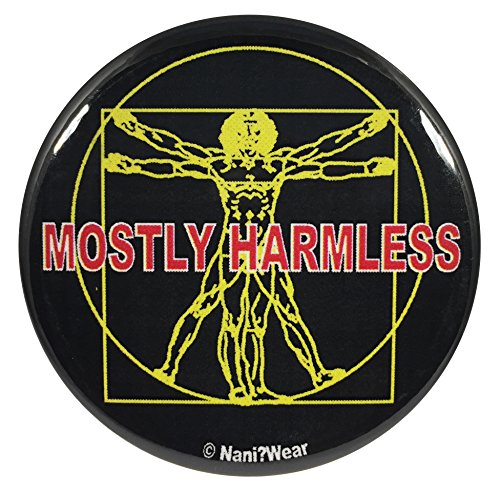 Nani?Wear Hitchhikers Guide 2.25 Inch Geek Button Mostly Harmless (Heart Of Gold Hitchhikers Guide To The Galaxy)