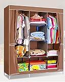 Evana 4.1 Feet Creative Coffee Brown Cabinet Easy Installation Folding Wardrobe Cupboard Almirah Foldable Storage Rack Collapsible Cloths Organizer