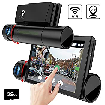 Image of AKEEYO D7 Dash Cam Front and Rear 3 Inch OLED Screen 1080P FHD Dual Lens Car Dash Camera with WDR, Night Vision, GPS, WiFi, Loop Recording, G-Sensor On-Dash Cameras