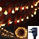 10M Globe String LED Fairy Lights Curtain Window 8 Modes Twinkle String Lights for Bedroom, Garden, Indoor, Outdoor, Patio, Birthday/Festoon Party, Wedding (Warm White, Plug In)