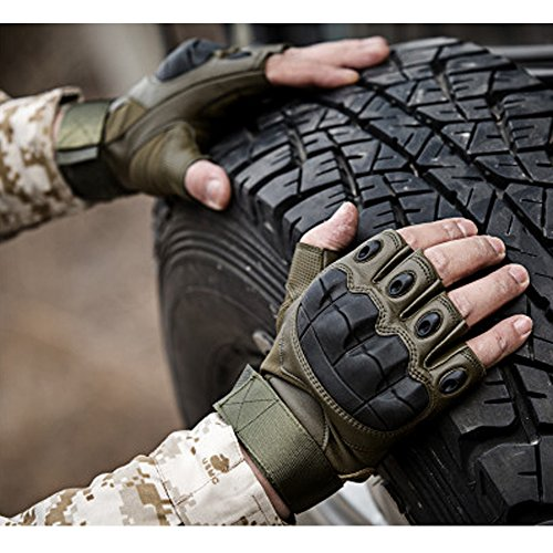 K-mover Gear Military Fingerless Hard Knuckle Tactical Gloves Half Finger for Army Gear Sport Driving Shooting Paintball Riding Motorcycle
