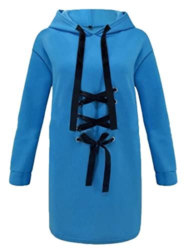XiaoTianXinWomen XTX Womens Solid Color Drawstring Lace Up Front Long Hoodie Sweatshirt Pullover