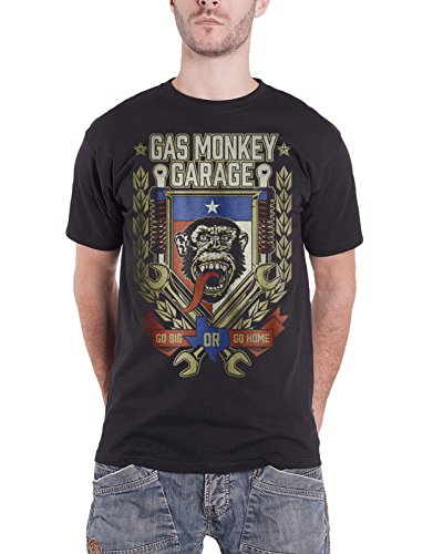 Gas Monkey Garage T Shirt Go Big Or Go Home Spanner Logo Official Mens ()