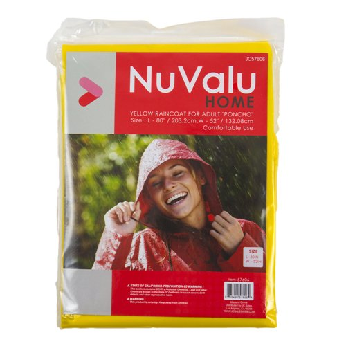 Nuvalu New 358011 Raincoat for Adult Poncho Yellow 0.04Mm 52X80 (24-Pack) Winter Wholesale Bulk Seasonal Winter Firesale ()