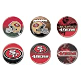 """WinCraft NFL San Francisco 49ers WCR97928791 Round Button (6 Pack), 2"""""""