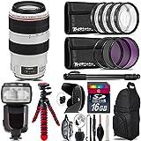Canon EF 70-300mm IS USM Lens + Pro Flash + UV-CPL-FLD Filters + Macro Filter Kit + 72 Monopod + Lens Hood + 16GB Class 10 + Backpack + Spider Tripod + Wrist Strap - International Version