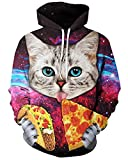 Product review for Chiclook Cool Chic Unisex Hipster Cat Eat Taco Pizza Printed 3D Funny Harajuku Hoodies Sweatshirt Coats