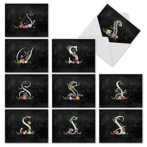 10 'S Chalk and Roses' Assorted Note Cards with Envelopes 4 x 5.12 inch, All Occasion Blank Greeting Cards, Letter S Stationery Set for Weddings, Baby Showers and Birthdays -