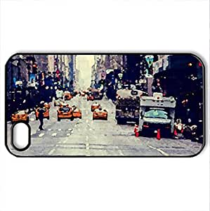 yellow taxis in a manhatten avenue at dawn - Case Cover for iPhone 4 and 4s (Skyscrapers Series, Watercolor style, Black)
