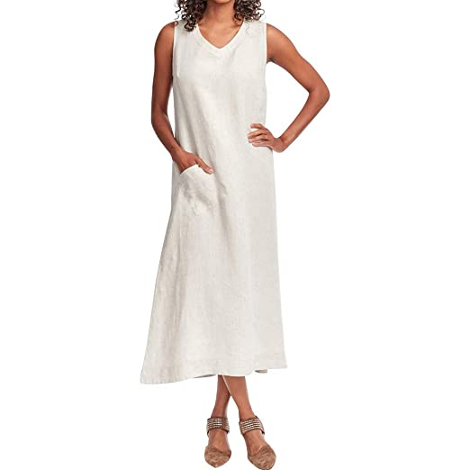 0b780eca Loose Women's Camisole Dress| Solid V-Neck Sleeveless Pocket Maxi Dress|  Cotton and Linen Long Casual Dress at Amazon Women's Clothing store: