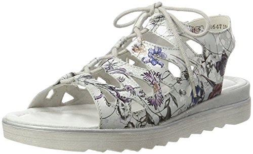 Remonte D1150, Sandales Bout Ouvert Femme, Mehrfarbig Multicolore (Offwhite-metallic/90)