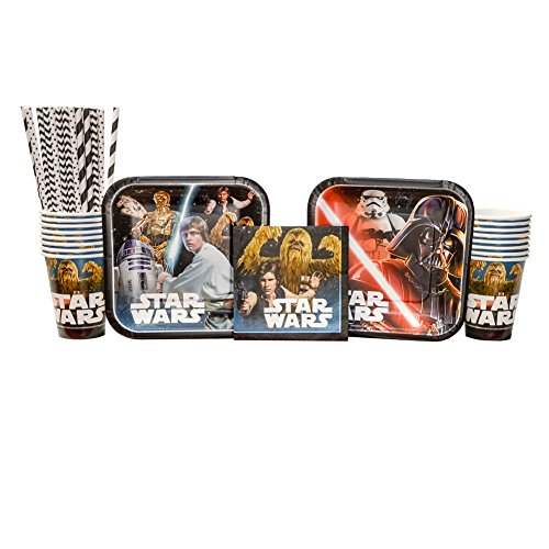 Classic Star Wars Birthday Party Supplies Pack for 16 Guests: Straws, Dessert Plates, Beverage Napkins, and Cups