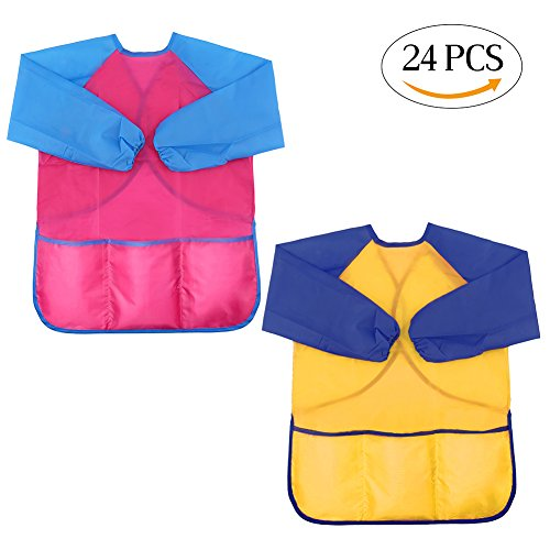 LOKIPA Waterproof Pink Paint Apron for Kids, Children Art Smock Long Sleeve with 3 Roomy Pockets, Pack of 24