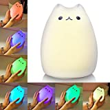 Litake Cat Night Light, USB Rechargeable Night Lights for Kids, Cute Multicolor Silicone Soft Kitty Nursery Lamp with Warm White and 7-Color for Kids, Baby, Children (Celebrity Cat)