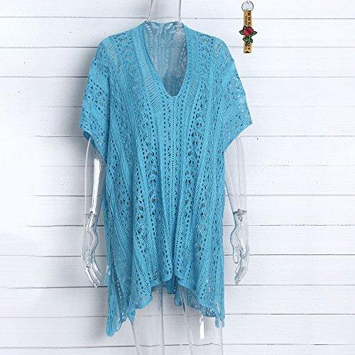 Blouse Bonboho Bohme Crochet Grande Col Taille Bleu Plage Cisel Up Solaire V Tunique Dcontract Robe de Bikini Protection Femme Cover Fonc ranwqrCS