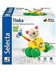 Sparen Sie bei Selecta 62035 Tinka, Nachzieh Katze, Schiebe-und Nachziehspielzeug aus Holz, 12 cm und mehr
