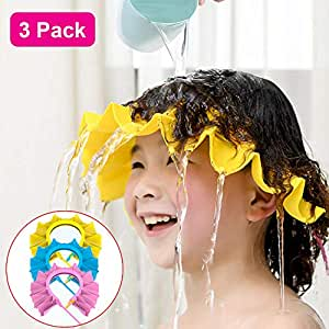 3 Pack Baby Shower Cap, Shampoo Cap Adjustable Visor Bathing Protection Hat Funny Safety Shield for Children Kids Toddler Infants (Blue & Pink & Yellow)