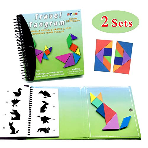 (Tangram Game Travel Games 176 Magnetic Puzzle and Questions Build Animals People Objects with 7 Simple Magnetic Colorful Shapes Kid Adult Challenge IQ Educational Book【2 Set of)