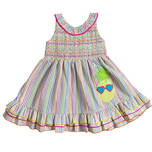 Good Lad Toddler to 4/6X Girls Multi-Stripe Seeruskcer Sundress with Pineapple Applique (6X) (Lad Clothing Children Good)
