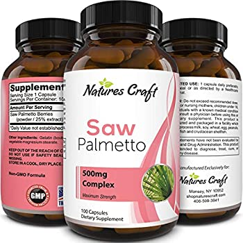 Natures Craft's Pure Saw Palmetto Extract - Hair Loss + Testosterone Benefits - Highest grade Berries Powder - Food-Grade Capsules (For Real Absorption) - USA Made