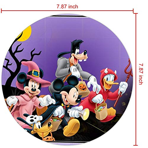 Mouse Pad Round Mouse Pad Halloween Mickey Mouse and Minnie Mouse Goofy Donald Duck Pluto Disney Halloween Wallpaper Light Weight -