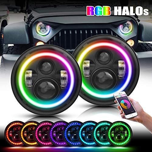 Amazon.com: TURBOSII - Par de faros LED RGB de 7 pulgadas ...