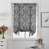 NAPEARL Jacquard Tie Up Balloon Curtain 1 Panel for Kitchen (55″ Wx63 L, Gray) For Sale