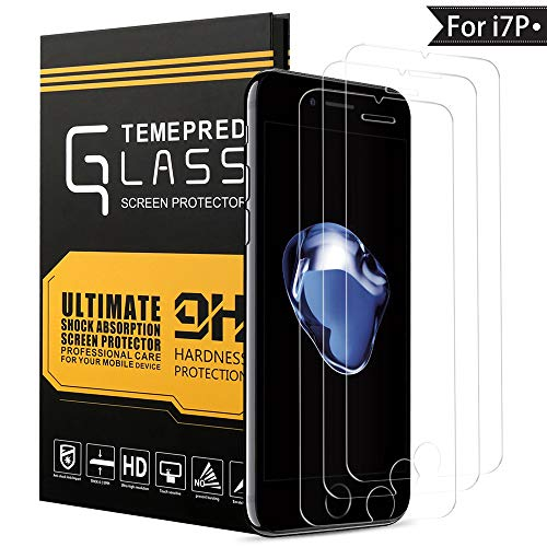 WZS Screen Protector Compatible iPhone 6 Plus, 6s Plus,7 Plus,8 Plus, [3-Pack] Premium Tempered Glass with 99.99% HD Clarity and 3D Touch Accuracy, Tempered Glass Screen Protector [5.5 inch]