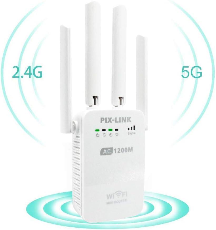 Amplificadores Señal de WiFi 300Mbps y 1200Mbps, Repetidor Wifi Extensor Enrutador Inalámbrico Punto Acceso con 4 Antenas Externas en Largo Alcance (4 Modos, 2,4G y 5G, 4 Antenas, Puerto LAN/WAN, WPS): Amazon.es: