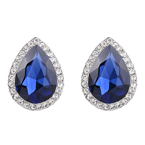 EVER FAITH Women's Austrian Crystal Wedding Teardrop Stud Earrings Navy Blue Silver-Tone