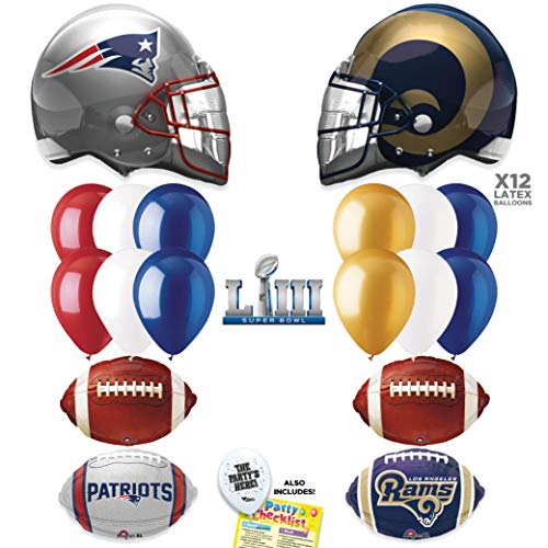 Super Bowl 53 Team DUEL - Los Angeles Rams vs New England Patriots NFL Football Party Supplies Decorations Balloon Kit - -