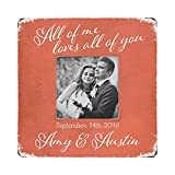 "Cheap All of Me Loves All of You, Personalized Desktop Picture Frame, Wedding or Engagement Gift with Couple's Names and Wedding Date, 8""x8"" Frame Fits Cropped 4×6 or 5×7 Photo"