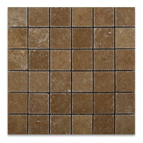 Tile Flooring Tumbled Cut - Noce 2 X 2 Travertine Tumbled Mosaic Tile